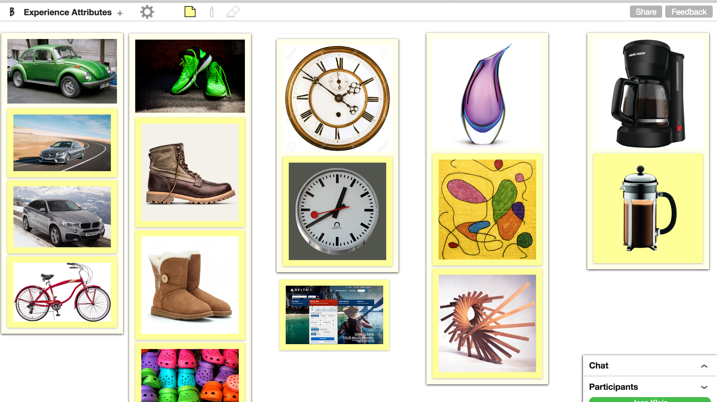 identify experience attributes with an image matrix on BoardThing